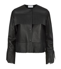 Reiss Olivia Leather Fringe Jacket Female Black