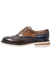 Melvin And Hamilton Trevor 1 Laceups Classic Dark Brown Tortora Cobalt Wine
