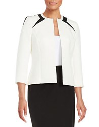 Nipon Boutique Roundneck Textured Jacket Ivory Black