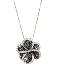 Effy Black Diamond And 14K White Gold Flower Pendant 1.98 Tcw 14 Kt. White Gold