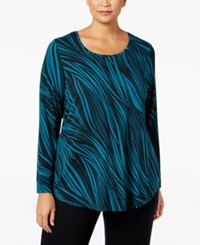 Jm Collection Plus Size Printed Top Only At Macy's Teal Wavy Dream