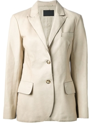 Prada Vintage Leather Blazer Nude And Neutrals