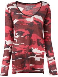 Majestic Filatures Camouflage Scoop Neck Jumper Red