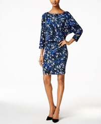 Nine West Printed Blouson Jersey Dress Blue