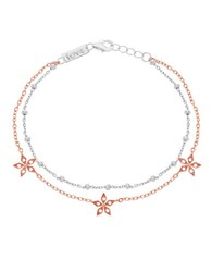 Lord And Taylor Cubic Zirconia Flower Station Bracelet Silver