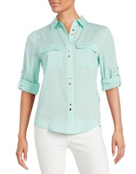 Ivanka Trump Crepe Button Front Blouse Glass