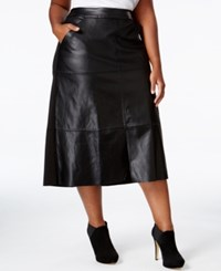 Melissa Mccarthy Seven7 Trendy Plus Size Faux Leather A Line Skirt Black