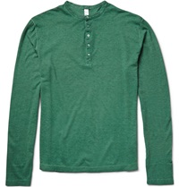 Massimo Alba Hawai Cotton And Cashmere Blend Henley T Shirt Green