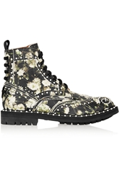 Givenchy Ankle Boots In Multicolored Floral Print Textured Leather