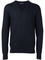 Dolce And Gabbana V Neck Jumper Blue