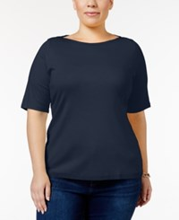 Charter Club Plus Size Boat Neck T Shirt Only At Macy's Intrepid Blue
