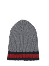Gucci Web Wool Cable Knit Beanie Hat