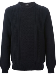 A.P.C. 'Irish Sailor' Aran Knit Sweater Blue