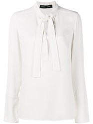 Proenza Schouler Long Sleeve Shirt With Neck Tie White Black Leopard