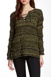 Curio Marled Lace Neck Sweater Green