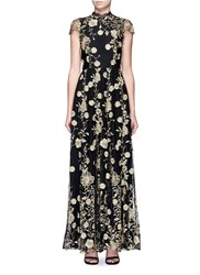 Alice Olivia 'Aaliyah' Metallic Floral Embroidered Gown