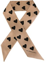 Burberry Heart Print Scarf Nude And Neutrals