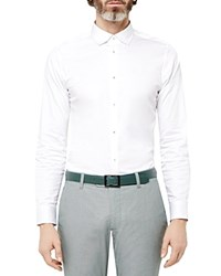 Ted Baker Myplan Satin Stretch Classic Fit Button Down Shirt White