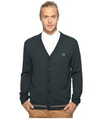 Fred Perry Tipped Merino Cardigan British Racing Green Men's Sweater