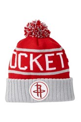 Mitchell And Ness Houston Rockets Pom Beanie Red