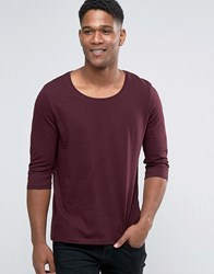 Asos 3 4 Sleeve T Shirt With Scoop Neck In Oxblood Oxblood Red