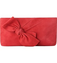 Lk Bennett Fay Suede Leather Clutch Bag Red Cherry