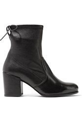 Stuart Weitzman Shorty Stretch Leather Ankle Boots Black