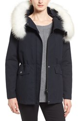 T Tahari Women's 'Jackie' Hooded Anorak With Removable Faux Fur Trim
