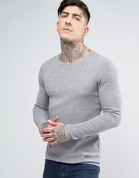Boss Orange By Hugo Long Sleeve Top Slim Fit Waffle Grey