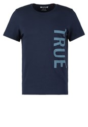 Mustang Tailored Fit Print Tshirt Marine Dark Blue