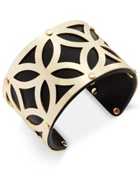 Charter Club Gold Tone Filigree Leather Look Open Cuff Bracelet Only At Macy's Black