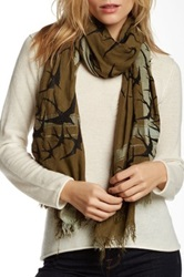 Leigh And Luca Classic Rectangle Fringe Scarf Green