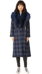 Tanya Taylor Plaid Candace Trench Coat Midnight Multi