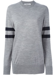 T By Alexander Wang Sleeve Stripe Sweater Grey