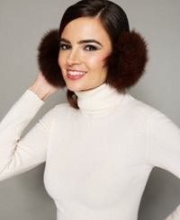 The Fur Vault Fox Fur Earmuffs Brown