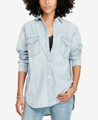 Denim And Supply Ralph Lauren Chambray Surplus Shirt Blue