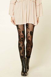 Forever 21 Floral Print Tights Black