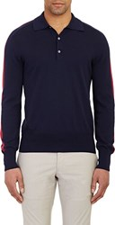 Michael Bastian Long Sleeve Polo Shirt Blue Size Extra Extra Large