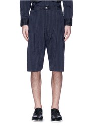 Song For The Mute Crinkled Pinstripe Bucket Shorts Blue