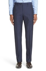 Armani Collezioni Men's 'G Line' Trim Fit Flat Front Check Wool Trousers Navy