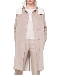 Akris Double Faced Cashmere Reversible Coat Birch Off White
