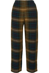 Isabel Marant Plaid Linen And Wool Blend Straight Leg Pants Brown