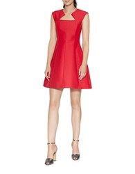 Halston Silk And Cotton A Line Dress Red