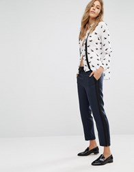 Mango Soft Trouser With Side Stripe Navy