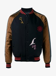Lanvin Embroidered Baseball Jacket Navy Blue Brown Green Red Multi Coloured Whit