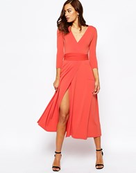 Asos Wrap Maxi Dress In Crepe Coral Red