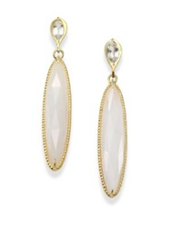 Ila Helen White Agate White Sapphire And 14K Yellow Gold Drop Earrings Gold Agate