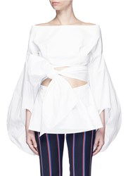 Rosie Assoulin Fig Sleeve Cutout Tie Front Poplin Top White