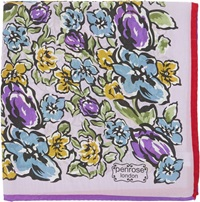 Penrose London Wild Flower Garden Print Pocket Square Purple
