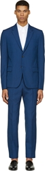 Alexander Mcqueen Blue Wool Classic Candy Stripe Suit